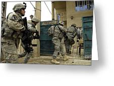 U.s. And Iraqi Army Soldiers Rushing Greeting Card by Stocktrek Images