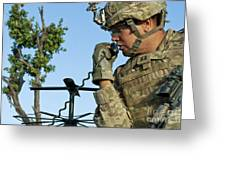 U.s. Army Soldier Calls For Indirect Greeting Card by Stocktrek Images