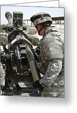 U.s. Army Soldier Loads A 105mm Greeting Card by Stocktrek Images