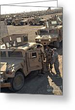 U.s. Army Soldier Speaks With Iraqi Greeting Card by Stocktrek Images