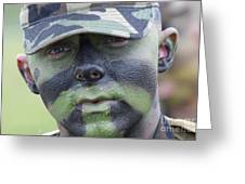 U.s. Army Soldier Wearing Camouflage Greeting Card by Stocktrek Images