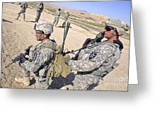 U.s. Army Soldiers Call In An Update Greeting Card by Stocktrek Images