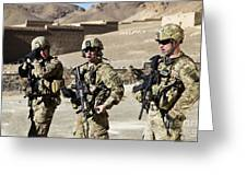 U.s. Army Soldiers Coordinate Security Greeting Card by Stocktrek Images