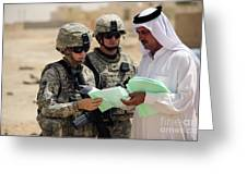 U.s. Army Soldiers Talking With A Town Greeting Card by Stocktrek Images