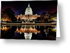 Us Capitol Building And Reflecting Pool At Fall Night 2 Greeting Card by Val Black Russian Tourchin