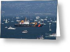 Us Coast Guard Ship Surrounded By Boats In The San Francisco Bay. 7d7895 Greeting Card by Wingsdomain Art and Photography