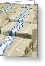 Us Dollar Bills In Bundles Greeting Card by Adam Crowley