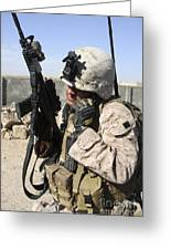 U.s. Marine Communicates With Fellow Greeting Card by Stocktrek Images