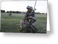 U.s. Marine Utilizes A Satellite Radio Greeting Card by Stocktrek Images