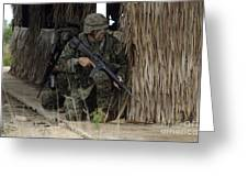 U.s. Marines Prepare To Enter A House Greeting Card by Stocktrek Images