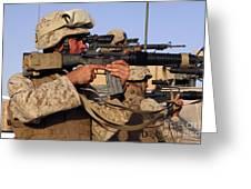 U.s. Marines Sighting Greeting Card by Stocktrek Images