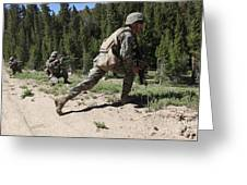 U.s. Marines Training At The Mountain Greeting Card by Stocktrek Images