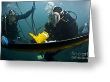 U.s. Navy Diver Instructs A Barbados Greeting Card by Stocktrek Images