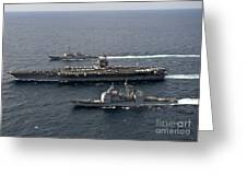 U.s. Navy Ships Transit The Atlantic Greeting Card by Stocktrek Images