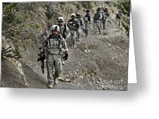 U.s. Soldiers And Afghan Border Greeting Card by Stocktrek Images