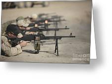 U.s. Soldiers Firing Pk 7.62 Mm Greeting Card by Terry Moore