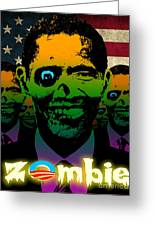 Usa Flag Zombie Obama Horde Greeting Card by Robert Phelps