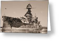 Uss Texas Bw Greeting Card by JC Findley
