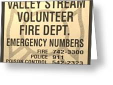 Vallet Stream Fire Department In Sepia Greeting Card by Rob Hans