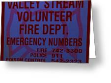 Valley Stream Fire Department In Blue Greeting Card by Rob Hans