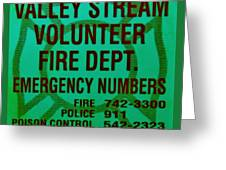 Valley Stream Fire Department In Irish Green Greeting Card by Rob Hans