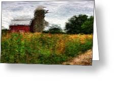 Van Gogh At The Barn Greeting Card by David Bearden