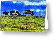 Van Gogh Goes Cow Tipping 7d3290 Greeting Card by Wingsdomain Art and Photography