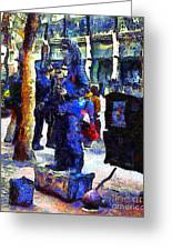 Van Gogh Is Captivated By A San Francisco Street Performer . 7d7246 Greeting Card by Wingsdomain Art and Photography