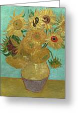 Van Gogh Vase With Twelve Sunflowers  Greeting Card by Vincent Van Gogh