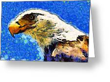 Van Gogh.s American Eagle Under A Starry Night . 40d6715 Greeting Card by Wingsdomain Art and Photography