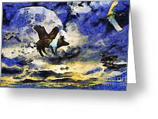 Van Gogh.s Flying Pig 2 Greeting Card by Wingsdomain Art and Photography