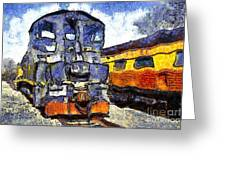 Van Gogh.s Locomotive . 7d11588 Greeting Card by Wingsdomain Art and Photography