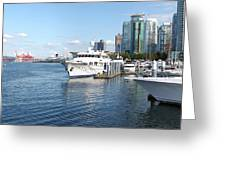 Vancouver Bc Downtown Skyline Panorama Marina Canada. Greeting Card by Gino Rigucci