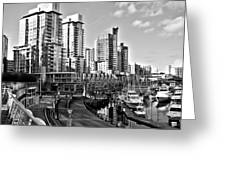 Vancouver Harbour Bw Greeting Card by Kamil Swiatek