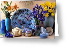 Vase And Plate Still Life Greeting Card by Garry Gay