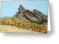 Vasquez Rocks Looking South Greeting Card by Stephen Ponting