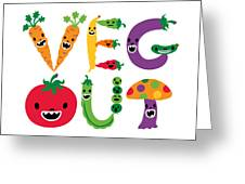 Veg Out - White Greeting Card by Andi Bird