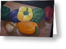 Veggies In Waiting Greeting Card by Mary Dunn