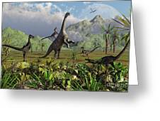 Velociraptor Dinosaurs Attack Greeting Card by Mark Stevenson