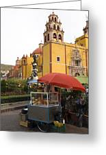 Vending Cart Outside Of The Basilica De Greeting Card by Krista Rossow