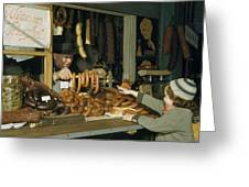 Vendor Holds Up Sausages For Young Girl Greeting Card by Volkmar Wentzel