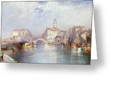 Venetian Canal Greeting Card by Thomas Moran