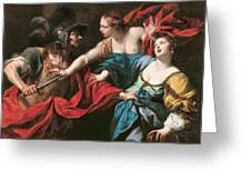Venus Preventing Her Son Aeneas From Killing Helen Of Troy Greeting Card by Luca Ferrari