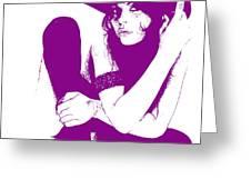 Vera Purple Greeting Card by Naxart Studio