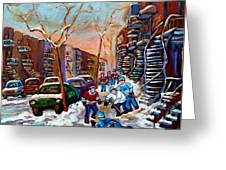 Verdun Montreal Hockey Game Near Winding Staircases And Row Houses Montreal Winter Scene Greeting Card by Carole Spandau