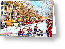 Verdun Street Hockey Game Goalie Makes The Save Classic Montreal Winter Scene Greeting Card by Carole Spandau