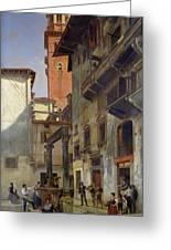 Via Mazzanti In Verona Greeting Card by Jacques Carabain