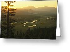 View At Dawn Of The Tuolumne River Greeting Card by Phil Schermeister