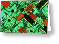 View Of A Circuit Board From An Alarm System Greeting Card by Chris Knapton
