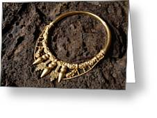 View Of A Golden Celtic Necklace During Excavation Greeting Card by Volker Steger